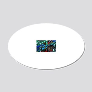 Warrior Vision Colorful Abst 20x12 Oval Wall Decal