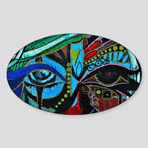 Warrior Vision Colorful Abstract Pa Sticker (Oval)