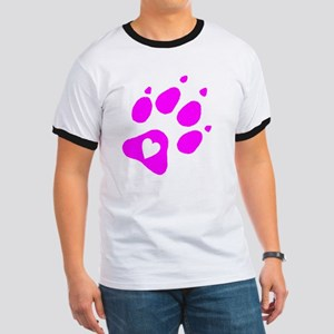 pink paw print for pants with hear inside Ringer T