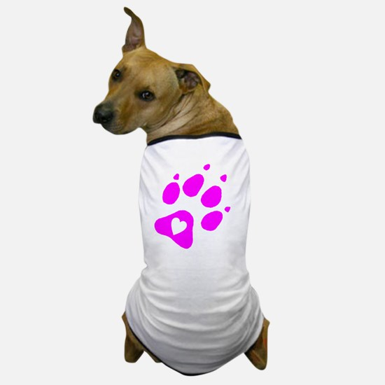 pink paw print for pants with hear ins Dog T-Shirt