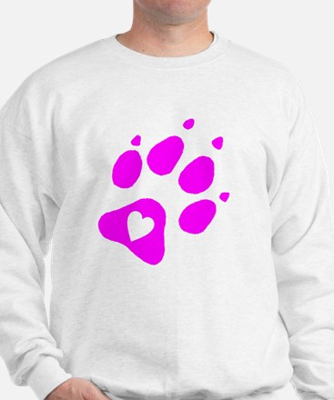 pink paw print for pants with hear insi Sweatshirt