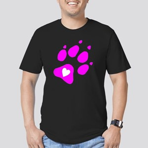 pink paw print for pan Men's Fitted T-Shirt (dark)