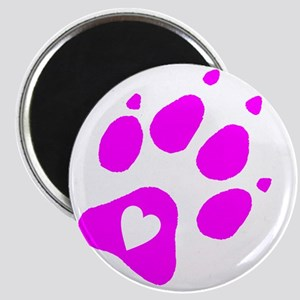 pink paw print for pants with hear inside Magnet