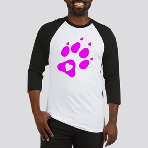pink paw print for pants with hear Baseball Jersey