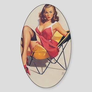 Classic Elvgren 1950s Vintage Pin U Sticker (Oval)