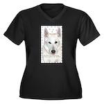 White German Shepherd Dog - A Women's Plus Size V-