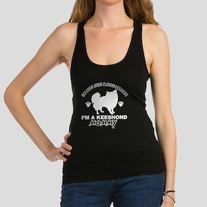 Keeshond dog breed designs Racerback Tank Top
