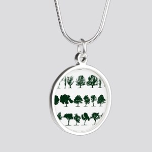 Tree Silhouettes Green 1 Silver Round Necklace