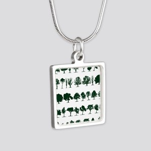 Tree Silhouettes Green 1 Silver Square Necklace