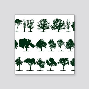 "Tree Silhouettes Green 1 Square Sticker 3"" x 3"""