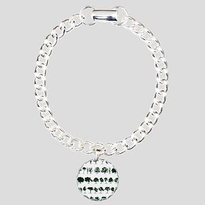 Tree Silhouettes Green 1 Charm Bracelet, One Charm