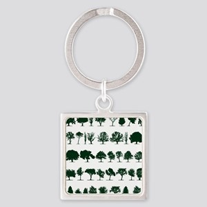 Tree Silhouettes Green 1 Square Keychain