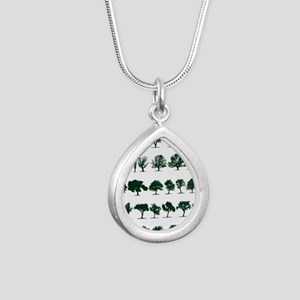 Tree Silhouettes Green 1 Silver Teardrop Necklace