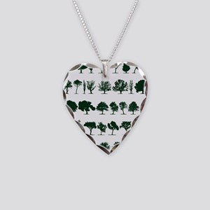 Tree Silhouettes Green 1 Necklace Heart Charm