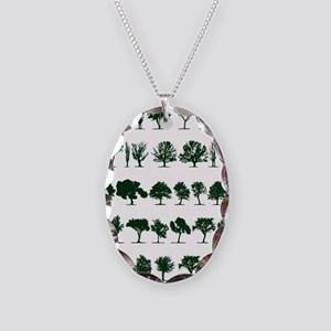 Tree Silhouettes Green 1 Necklace Oval Charm