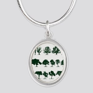 Tree Silhouettes Green 1 Silver Oval Necklace