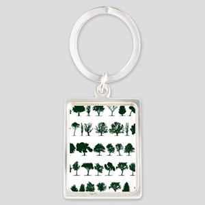 Tree Silhouettes Green 1 Portrait Keychain