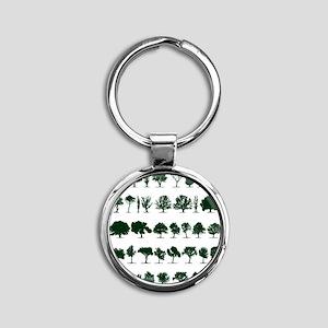 Tree Silhouettes Green 1 Round Keychain