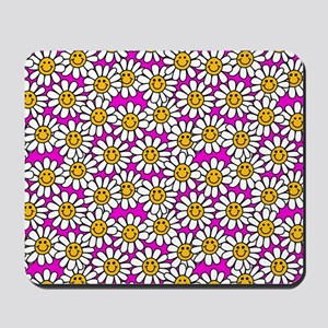 Smiley Pink Daisy Flowers Mousepad