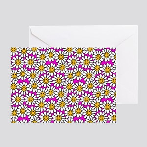 Smiley Pink Daisy Flowers Greeting Card