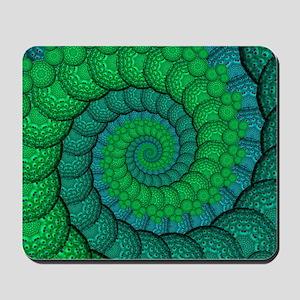 Blue and Green Fractal Art Mousepad