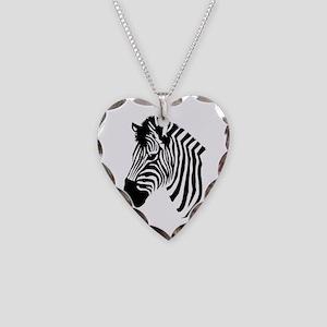 Zebra Head Necklace Heart Charm
