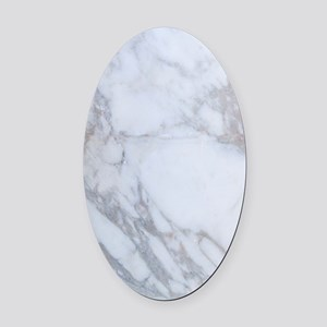 White Marble Oval Car Magnet