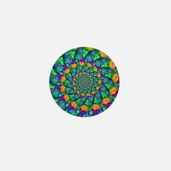 Rainbow Turquoise Fractal Mini Button