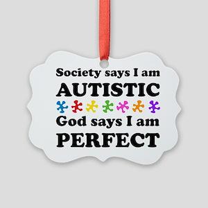 Autistic=Perfect Picture Ornament