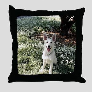 Kole in flowers Throw Pillow