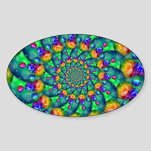 Rainbow Turquoise Fractal Sticker (Oval)