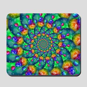 Rainbow Turquoise Fractal Mousepad