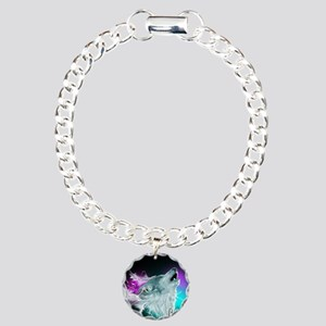 Northern Lights Wolf Spi Charm Bracelet, One Charm