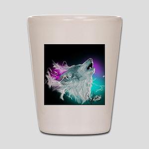 Northern Lights Wolf Spirit Shot Glass