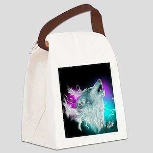 Northern Lights Wolf Spirit Canvas Lunch Bag