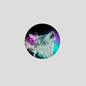 Northern Lights Wolf Spirit Mini Button