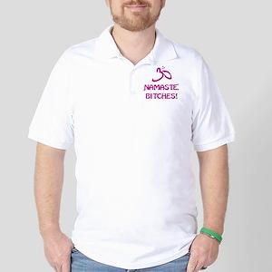 Namaste Bitches- Pink Glitter Effect Golf Shirt