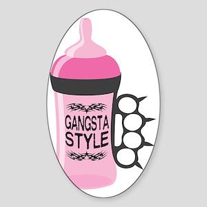 gangsta bottle pink Sticker (Oval)