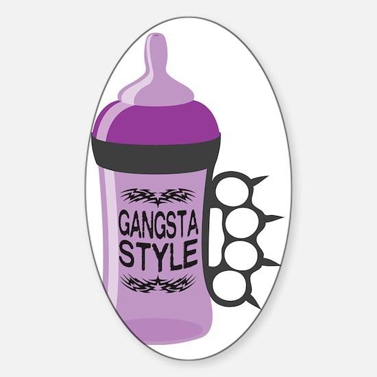 gangsta bottle purple Sticker (Oval)