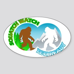 Sasquatch Yeti Match Up Sticker (Oval)