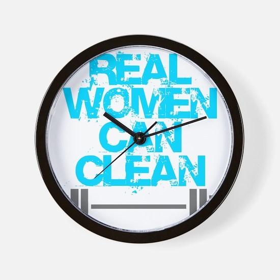 Real Women Can Clean (Light Blue) Wall Clock