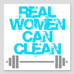 "Real Women Can Clean (Li Square Car Magnet 3"" x 3"""