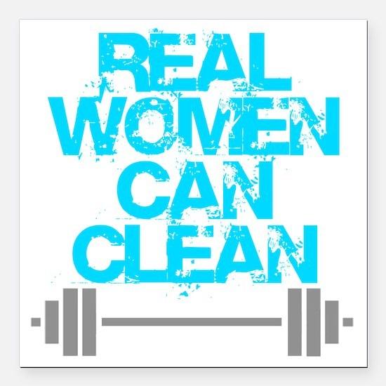 "Real Women Can Clean (Li Square Car Magnet 3"" x 3"""
