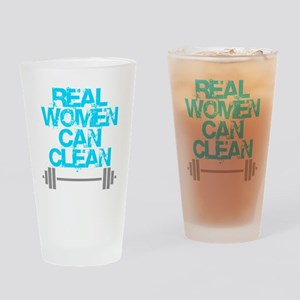 Real Women Can Clean (Light Blue) Drinking Glass