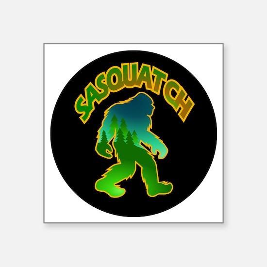 "Sasquatch Forest Scene Square Sticker 3"" x 3"""