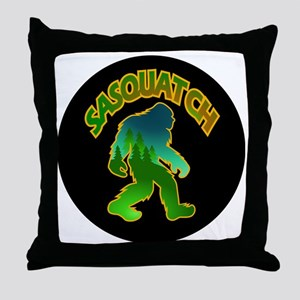 Sasquatch Forest Scene Throw Pillow