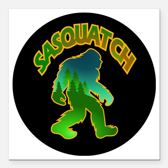 "Sasquatch Forest Scene Square Car Magnet 3"" x 3"""