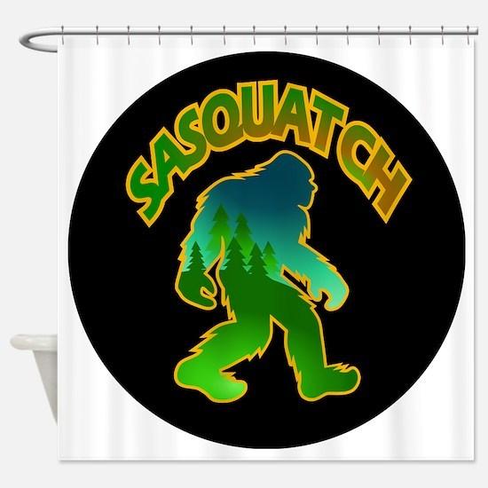 Sasquatch Forest Scene Shower Curtain