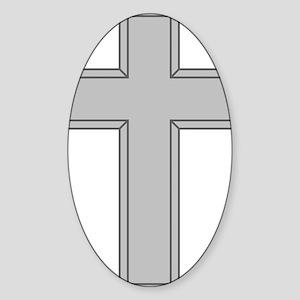 Silver Cross Sticker (Oval)