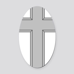 Silver Cross Oval Car Magnet